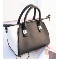 Office Women's Tote Bag With Metallic and PU Leather Design