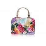 Party Women's Tote Bag With Floral Print and Weaving Design