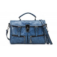 Preppy Style Casual Vintage Women's Tote Bag With Solid Color Buckle and PU Leather Design