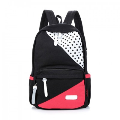 Preppy Style Women's Satchel With Color Block and Dots Design