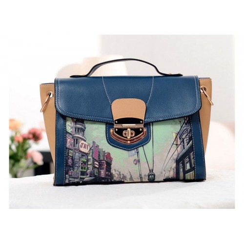 Preppy Style Women S Tote Bag With Print And Twist Lock Design