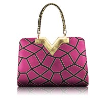 Pretty Women's Tote Bag With Geometric and Metallic Design