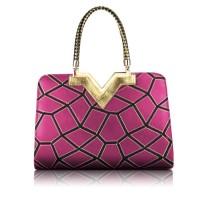 Pretty Women's Tote Bag With Geometric and Metallic Design