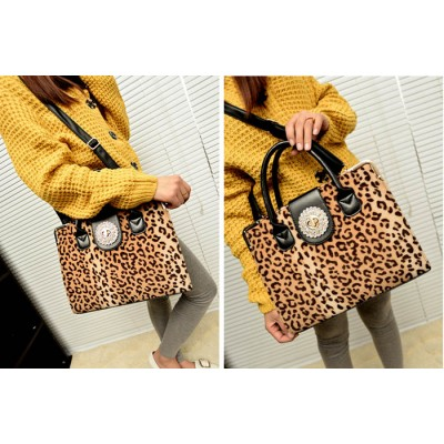 Pretty Women's Tote Bag With Leopard Print and Rhinestone Design
