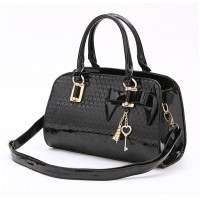 Pretty Women's Tote Bag With Pendant and Patent Leather Design