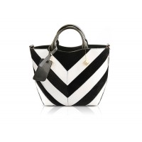 Pretty Women's Tote Bag With Striped and Stitching Design