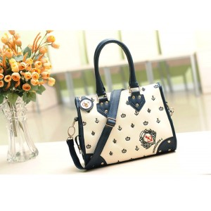 Retro Casual Women's Handbag With Color Block Rivet and Cartoon Design