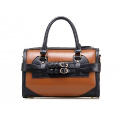 Retro Style Women's Tote Bag With Buckles and Color Matching Design