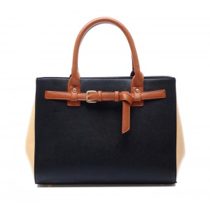 Retro Style Women's Tote Bag With Color Block and Buckle Design