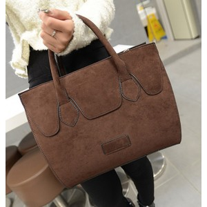 Retro Style Women's Tote Bag With Suede and Solid Color Design