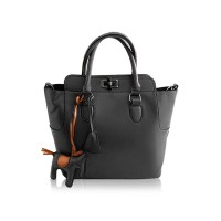 Simple Women's Tote Bag With Horse Pendant and Solid Color Design Black