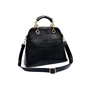 Street Level Women's Handbag With Solid Color and Crocodile Print Design