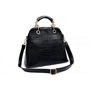 Street Level Women's Handbag With Solid Color and Crocodile Print Design