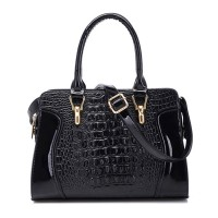 Stunning Women's Tote Bag With Crocodile Print and Metallic Design