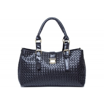 Stylish Casual Elegant Women's Tote Bag With Pure Color Weaving and Buckle Design