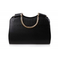 Stylish Women's Leather Handbag With Snake Print and Solid Color Design