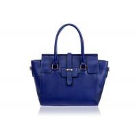 Stylish Women's Leather Handbag With Splicing and Metallic Design
