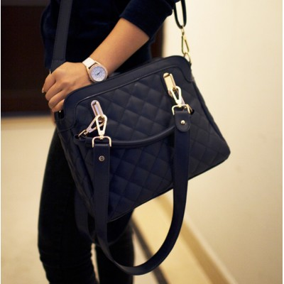 Stylish Women's Tote Bag With Checkede and PU Leather Design