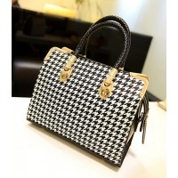 Stylish Women's Tote Bag With Houndstooth and Metallic Design