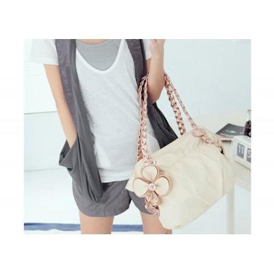 Sweet Women's Street Level Handbag With Flower and Weaving Design