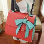 Sweet Women's Tote Bag With Color Matching and Bow Design Pink