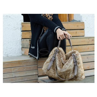 Trendy Casual Elegant Women's Tote Bag With Rivets and Faux Fur Design