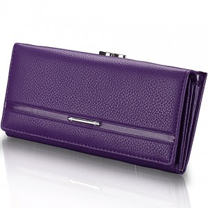 Trendy Women's Clutch Wallet With Solid Color and PU Leather Design