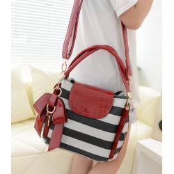 Trendy Women's Tote Bag With Bow and Stripes Design