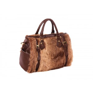 Trendy Women's Tote Bag With Imitation Fur and Buckle Design