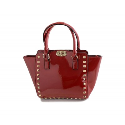 Trendy Women's Tote Bag With Rivets and Patent Leather Design