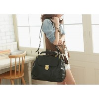 Trendy Women's Tote Bag With Solid Color and Flower Twist-Lock Design