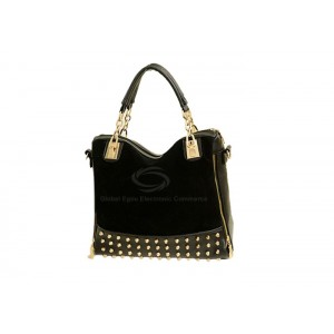 Vintage Style Casual Suede Women's Tote Bag With Splicing and Rivets Design