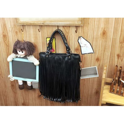 Vintage Style Women's Street Level Handbag With Solid Color and Tassels Design