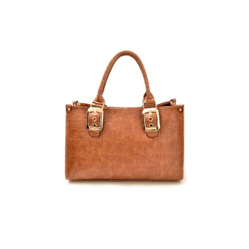 Vintage Style Women's Tote Bag With Crocodile Print and Buckle Design