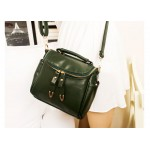 Vintage Style Women's Tote Bag With Solid Color PU Leather and Zipper Design