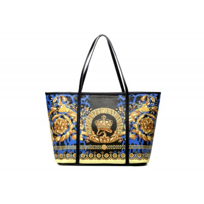 Vintage Women's Leather Handbag With Floral Print and Splicing Design