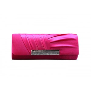 Trendy Party Women's Evening Bag With Pure Color Rhinestone and Pleated Design