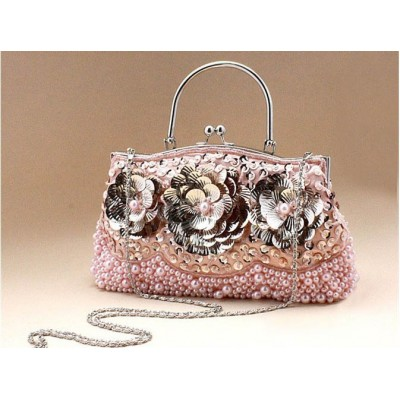 Vintage Women's Evening Bag with Flouncing and Solid Color Design